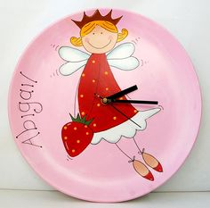 Don't forget that our bisque pottery plates make greate DIY Clocks.  Simply drill a hole in the middle, design, paint and add a clock movement.  A great personalised gift.  This design was painted using DecoArt's Americana Acrylics.