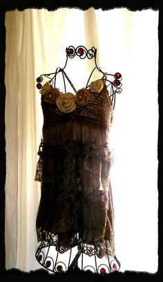 Anthropologie style ruffle slip dress