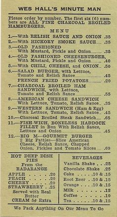 Vintage Minute Man menu, Little Rock, AR. Vintage Diner, Vintage Menu, Vintage Restaurant, Menu Restaurant, Vintage Ads, Old Recipes, Vintage Recipes, Diner Menu, 50s Diner