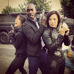 Agents of Shield. Trip and May are all serious and have their business face on while Skye is like the little Labrador puppy who's just been given more leash. XD