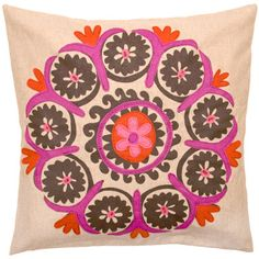 Uzbek Pink Embroidered Pillow @LaylaGrayce