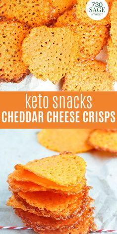 Keto Snacks Garlic Cheddar Cheese Crisps are low carb-friendly and are super easy to make Low Carb Appetizers, Low Carb Desserts, Yummy Appetizers, Dessert Recipes, Appetizer Recipes, Best Low Carb Recipes, Low Carb Chicken Recipes, Keto Recipes, Ketogenic Recipes