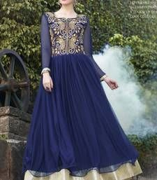 Buy Navy Blue Embroidered Soft  Net semi stitched Gown party-wear-gown online