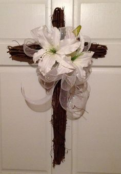 Grapevine Cross Wreath measuring 18 x 30 with by CountryHomeWreath, $45.00