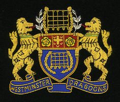 WESTMINSTER DRAGOONS Bullion wire blazer badges - Bullion Crests, Hand Embroidered Patches.