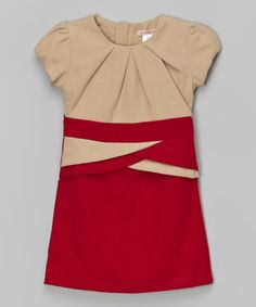 Love this Red Color Block Cap-Sleeve Dress - Toddler on #zulily! #zulilyfinds