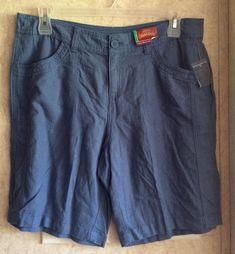 9a86a6cb1f Faded Glory Womens Stretch Linen Bermuda Shorts New Size 16 Inseam 10 Blue  Thin #fashion