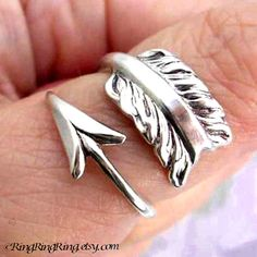 925. Cupid's Arrow - Sterling Silver ring for men & women, Size adjustable, Unique archery jewelry