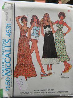 McCall Vintage robe et Top modèle N 4531 non-coupe 1975