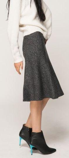 Super Cute!  Grey Fishtail Midi Skirt with Oversized Sweater Fashion #Grey #Fishtail #Midi #Skirt #Fall #Winter #Sweater #Fashion