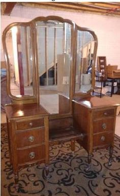 Antique 6 Drawer Drop Well Vanity/Dressing Table With Tri Fold Mirror