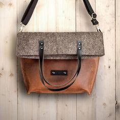 Filztasche oder Ledertasche? Umhängetasche aus Leder und Filz! Messenger bag, Schultertasche, Einkaufstasche, rotbraun