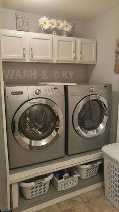Tiny Laundry Rooms, Laundry Room Layouts, Laundry Room Remodel, Laundry Room Cabinets, Basement Laundry, Farmhouse Laundry Room, Laundry Room Organization, Laundry Room Design, Diy Cabinets