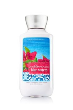 MEDITERRANEAN BLUE WATERS - Body Lotion - Signature Collection - Bath & Body Works - America's #1 Body Lotion! Infused with Shea Butter and our exclusive Daily Moisture Complex, our enhanced lotion contains more of what skin loves, leaving it feeling incredibly soft, smooth and nourished. Fortified with nutrient-rich ingredients like protective Vitamin E and conditioning Vitamin B5, our fast-absorbing, non-greasy formula delivers 16 hours of continuous moisture.