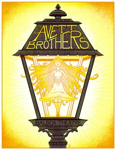 """The Avett Brothers – San Diego, CA 2015″ by Jim Mazza. 18″ x 24″ 7-color Screenprint. Ed of 200 S/N. $30"