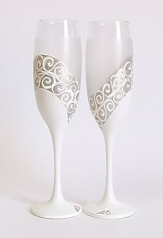 Wedding glasses- diagonal silver, white, frost. Hand painted. Personalized. Champagne glasses. Champagne Flutes. Set of 2.