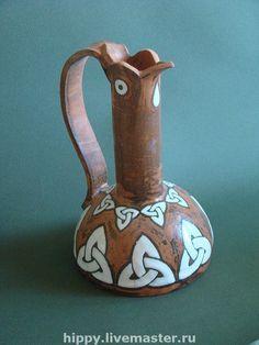 """Купить Ваза керамическая """"Птица"""" - ваза, Керамика, вазочка, подарок, рыжий, шамот, глазурь, ангоб"""