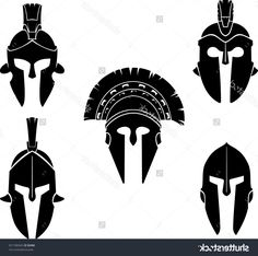 Excellent Spartan Vector Art Draw: HD Spartan Helmet Clip Art Black And White Layout
