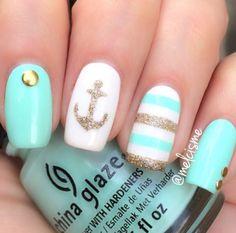 Tiffany Blue and Gold Nautical Nails with Anchor ⚓️ - Nail Art Designs Fancy Nails, Love Nails, Diy Nails, How To Do Nails, Pretty Nails, Gel Manicure, Dream Nails, Gel Nail, Shellac