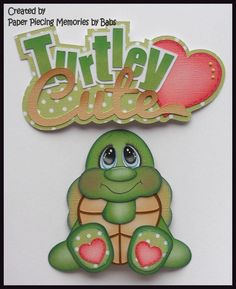 Turtle Set Premade Paper Piecing Die Cut for Scrapbook Page by Babs Created by Paper Piecing Memories by Babs