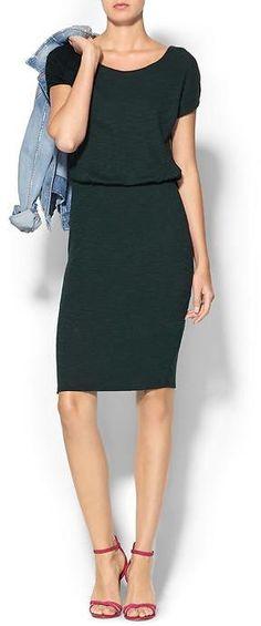 Three Dots Short Sleeve Blouson Dress