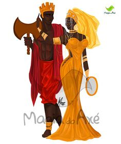 Shango/Xangô, King of Oyó (crown), Orisha of justice (oshé ax), with his wife Oshun/Oxum, Orisha of love. By Marcelo Moreno (Magia do Axé) (Brazil). Black Couple Art, Black Love Art, Black Girl Art, Art Girl, Greek Goddess Art, Oshun Goddess, Shango Orisha, Orishas Yoruba, Futurism Art