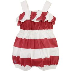 Ralph Lauren Childrenswear Newborn Girls 0-9 Months Striped Romper (67 GTQ) ❤ liked on Polyvore featuring baby, baby clothes, kids, baby stuff and baby girl