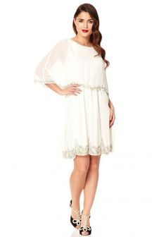 Gatsbylady Gloria Cape Flapper Dress in Off-White