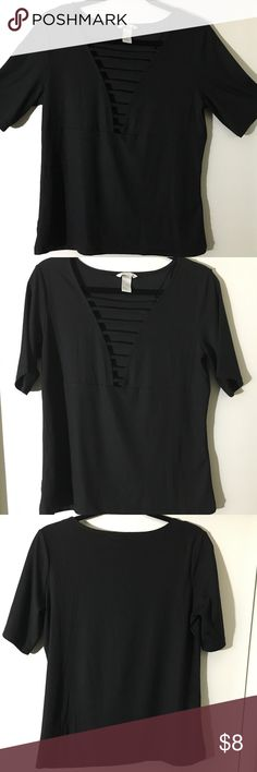 H&M Black Striped cut V-Neck Top Size: Large, New, Never used but took off the tags, still in great condition! No rips or stains. Really simple yet cute top for going out (: H&M Tops Blouses