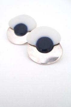 Royal Copenhagen, Denmark - porcelain & sterling silver ear clips #Denmark #earrings #porcelain