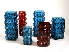 original 1960s HIRSCHBERG 6 x Vintage german Art Glass Vase Set RED & BLUE
