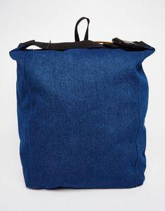 Bild 1 von ASOS – Weicher Rucksack aus indigoblauem Denim