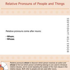 Pronouns are words used to avoid repetitions of a noun. Relative pronouns are used to introduce relative clauses. They refer to people or things by replacing the subject expressed in the main clause to avoid the repetition of it in the relative clause.