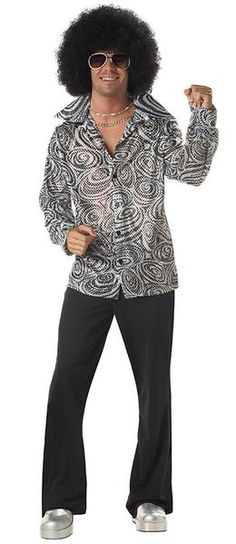 Groovy Disco Shirt Adult Costume Includes wig and shirt. Does not include sunglasses, pants, jewelry or shoes. Weight (lbs) 0.9 Length (inches) 14.5 Width (inches) 13 Height(inches) 1.5 Adult Costumes Silver Large (42-44) MEN Everyday Male Adult