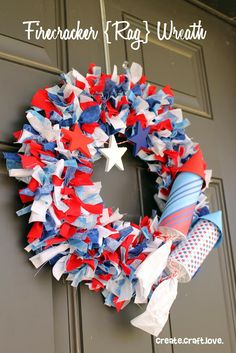 Firecracker Rag Wreath via createcraftlove.com #wreath #fourthofjuly