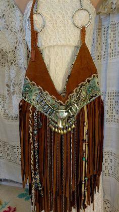 Handmade Caramel Brown Suede Leather Fringe Bag Hippie Boho Hobo Purse tmyers…