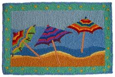 Coastal Tropical Tiki Beach Umbrellas Jellybean Accent Rug - Beachfront Decor