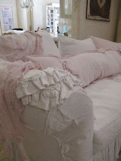 Shabby Chic pink & white ruffles  Sofa, couch, pillows