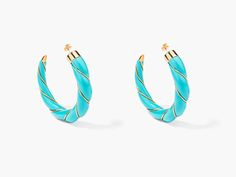 Diana turquoise twisted hoop earrings