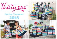 #31 2018 brings you some great new Thirty-One prints and products. Check them out at MyThirtyOne.com/PiaDavis or find your consultant in the upper right corner of the website. Utility Totes, Zip-Top Organizing & Deluxe, All-In Organizer, Essential Storage Tote, Crossbody Organizing Tote, Double Duty Caddy, Thermal Totes, Around the Clock Thermal, Sand N' Shore Thermal Tote, Quick Cinch Thermal, Stand Tall Bin, Mini Storage Bin, Catch-All Bin, Oh-Snap Bin, Your Way Display, Cube & Rectangles.