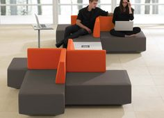 commercial modular upholstered bench DNA Teknion