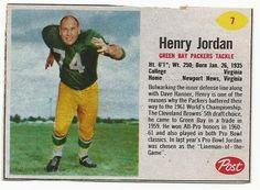 hank jordan packersfootball card  | 1962 Post Henry Jordan Green Bay Packers Football Card | eBay