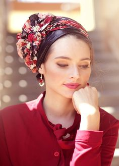 Sicily Maroon and Black Head Covering Scarf Hairstyles, Cool Hairstyles, Natural Hair Styles, Long Hair Styles, Hair Cover, Turban Style, Flower Hair Accessories, Fancy Hats, Powder Pink