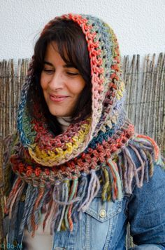 58 ideas for knitting loom patterns hat stitches Crochet Hooded Scarf, Crochet Scarves, Crochet Shawl, Crochet Clothes, Crochet Stitches, Knit Crochet, Hippie Crochet, Loom Knitting Patterns, Crochet Patterns