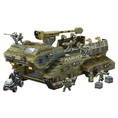 The Megabloks Halo UNSC Elephant - so you can play Halo when you're not playing Halo. Halo Lego Sets, Lego Halo, Lego Army, Lego Military, Lego Ww2, Legos, Mobile Command Center, Halo Videos, Halo Mega Bloks