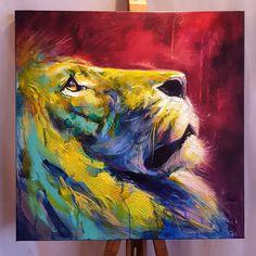 Colorful Animal Paintings, Lion Painting, Bright Art, Lion Art, Painting Wallpaper, Arte Pop, Cat Art, Art Drawings, Street Art