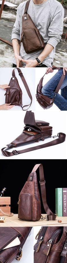 US$37.00 BULLCAPTAIN Genuine Leather Business Casual Chest Bag Crossbody Bag For Men