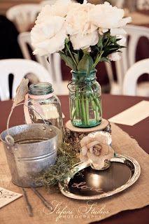 Burlap and mason jar centerpiece