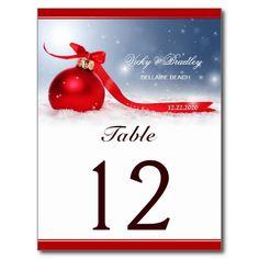 Christmas Wedding Table Numbers Post Card