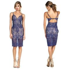 """❗️LAST ONE❗️Lace midi dress Gorgeous royal blue, lace midi dress with sweetheart neckline, scalloped hemline, adjustable straps, hidden back zipper closure and buckle closure on the back, fully lined, with a little bit of stretch. Self and lining- 100% polyester.    Measurements laying flat:  Small: bust-12"""", length- 35 1/2""""    No trades. Price is firm unless bundled. Free shipping on orders $50 & up. Fashion Spectrum Dresses"""